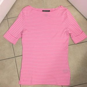 Ralph Lauren pink and cream striped top Size Small